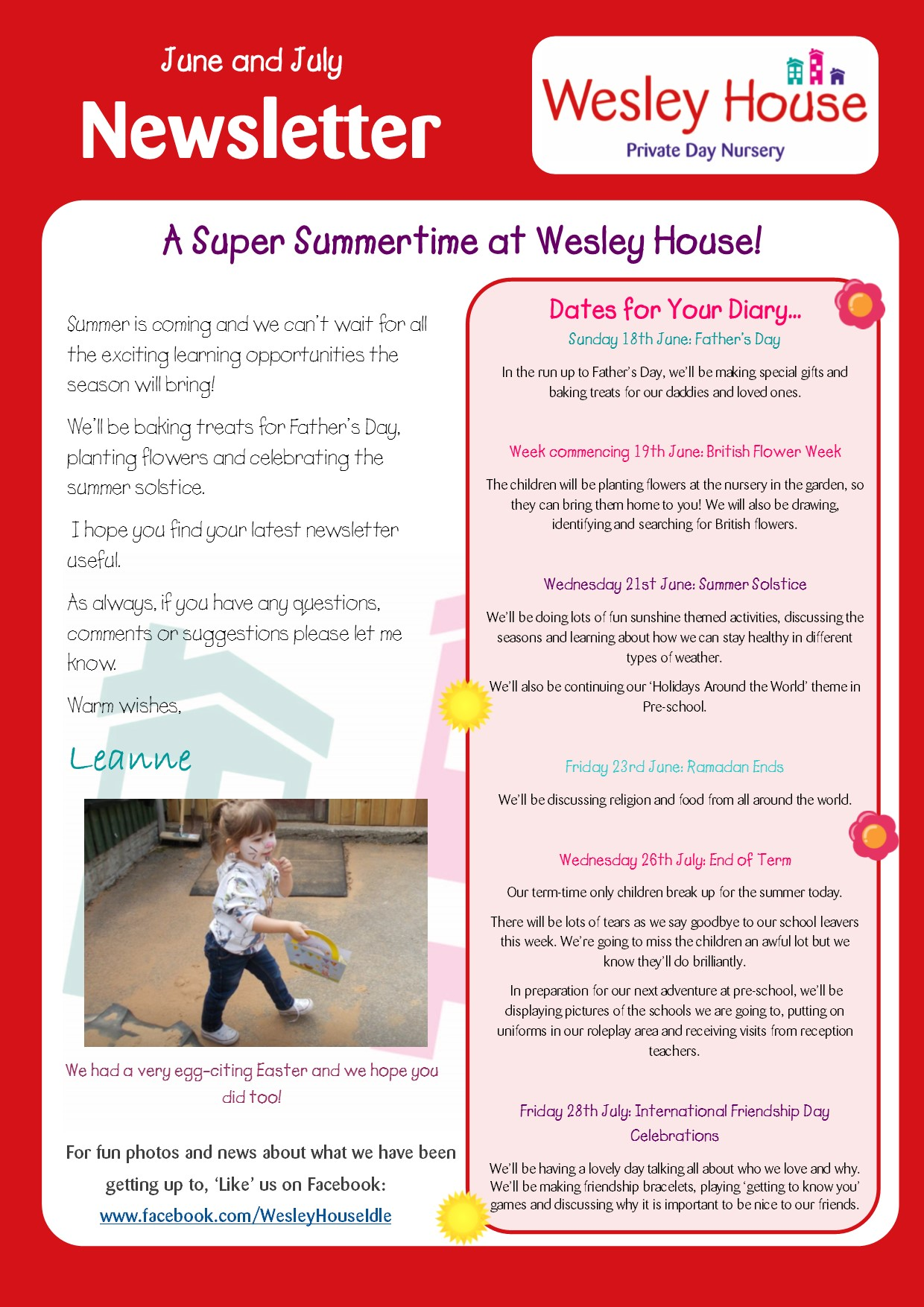 Wesley house nursery in idle read our june july newsletter for Wesley house